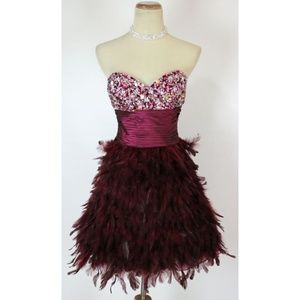 New JOVANI Burgundy Feather Beaded Evening Dress